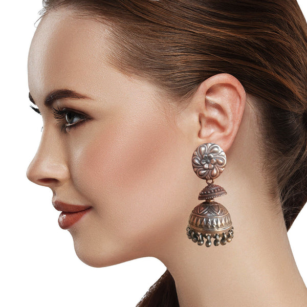 Real Silver Splendour Jhumka Earrings
