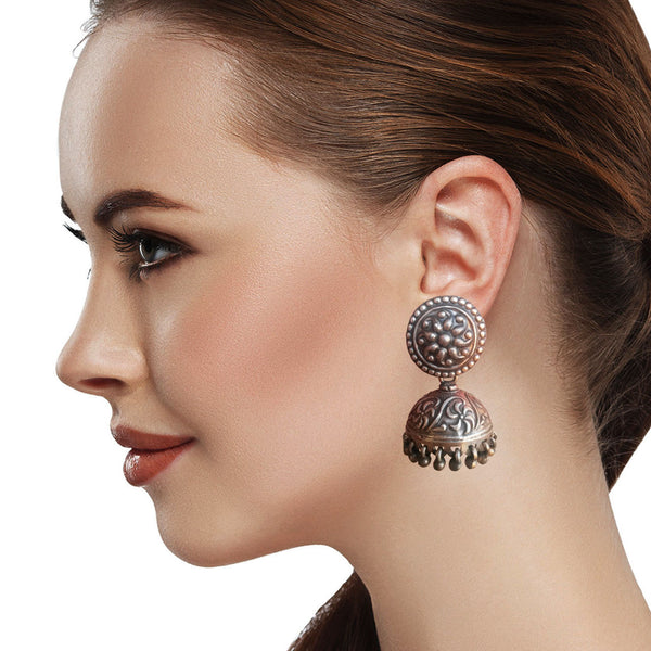 Silver Eclipse Jhumka Earrings