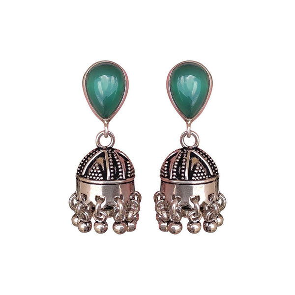 Regal Green and Silver Earrings