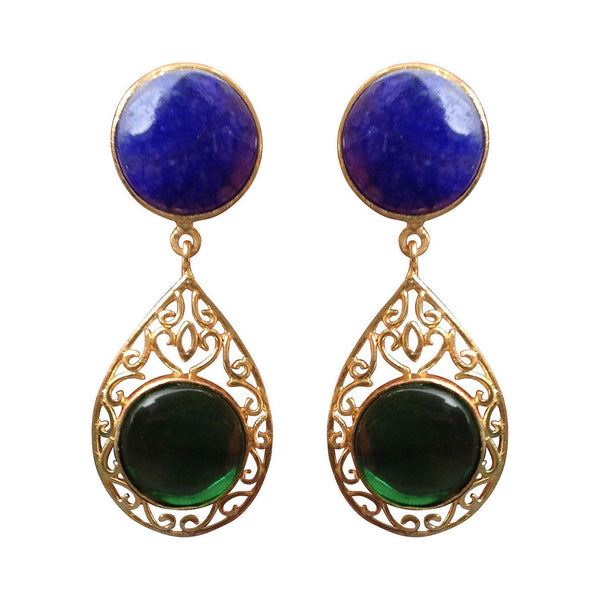 Natural Blue Green Stone Earrings