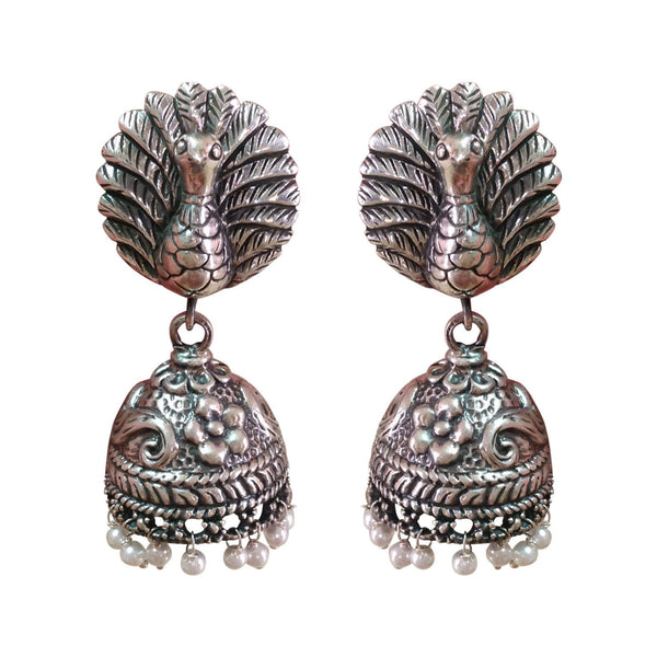 Silver Feathers Jhumka Earrings