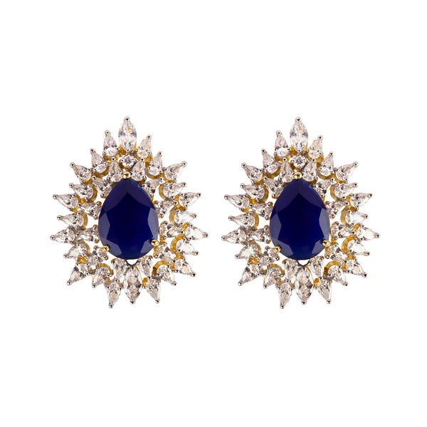 Blue Drop Sparkle Stud Earrings