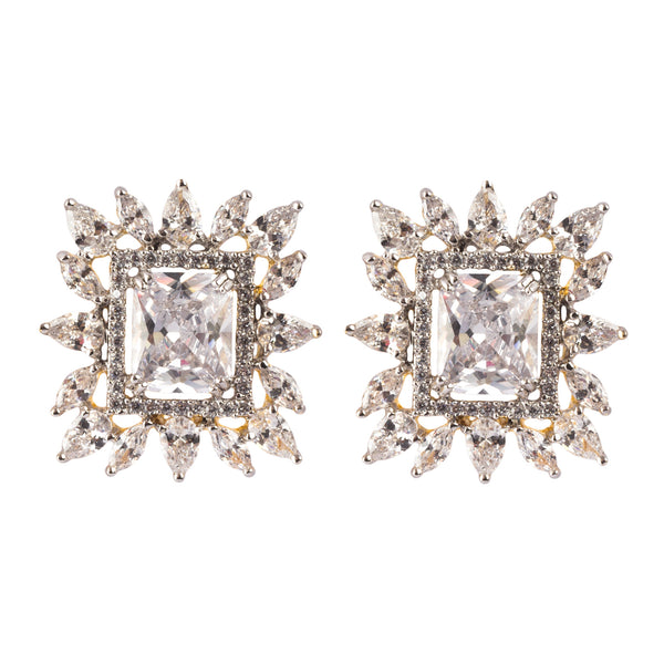 Crystal Window Stud Earrings