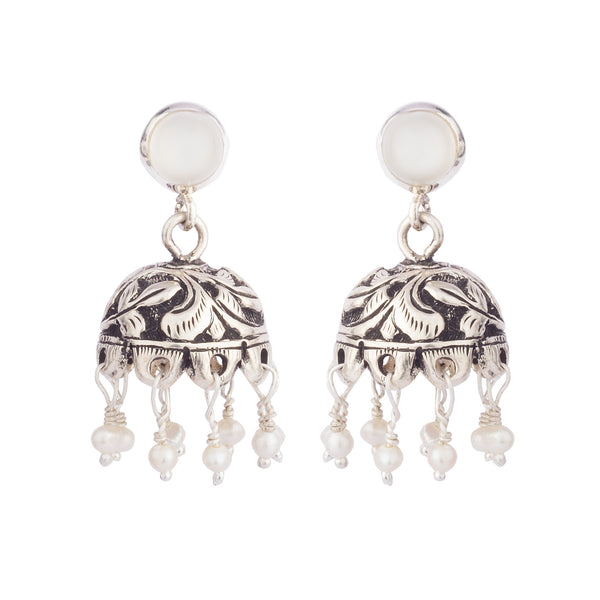 Moonstone Stud Black Overlay Jhumki Earrings