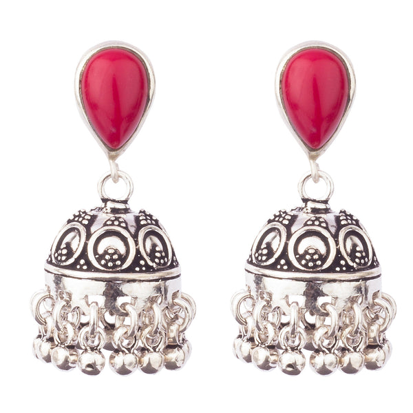 Red Drop Oxidized Jhumka Earrings