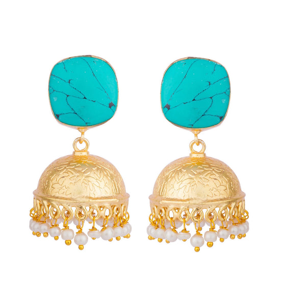 Turquoise Stud Carved Pearl Accent Jhumka Earrings