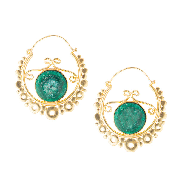 Green Stone Carved Gold Hoop Bali Earrings