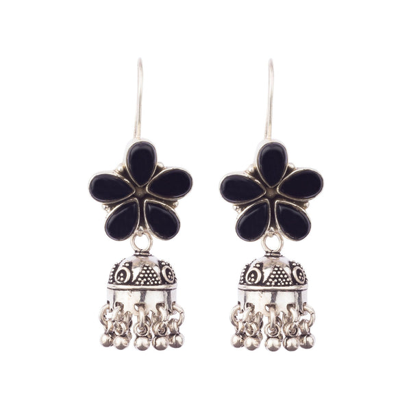 Black Floral Beauty Silver Earrings