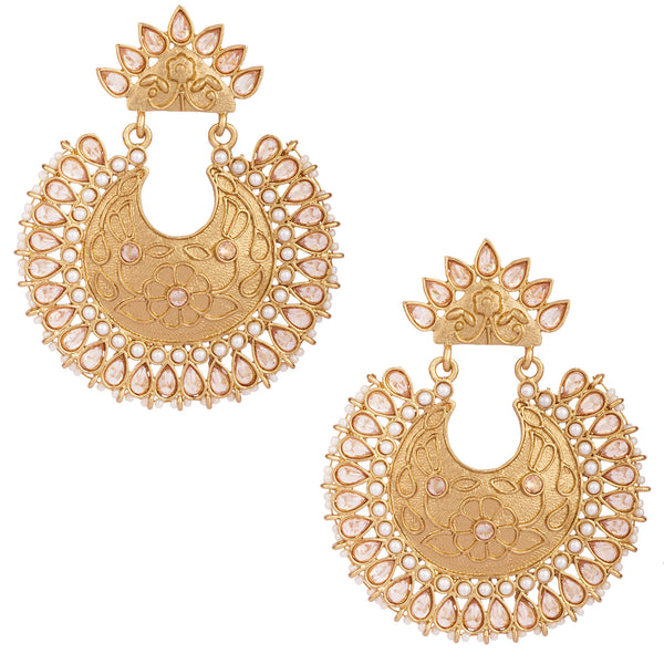 Golden Brass Chandbali Earrings