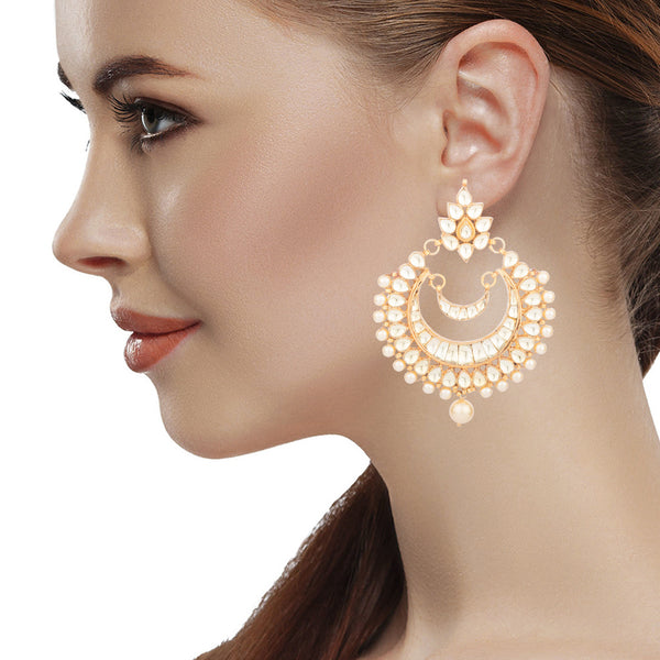 Splendid Kundan Long Chandbali Earrings