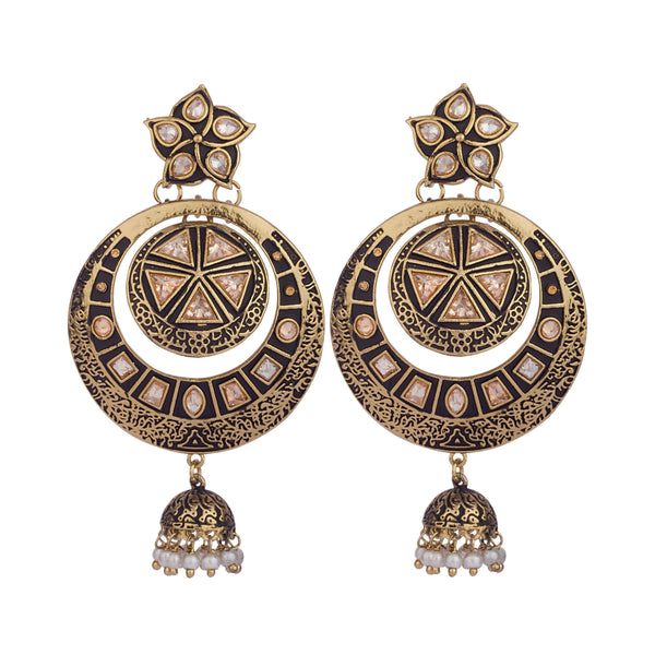 Black Overlay Kundan Earrings