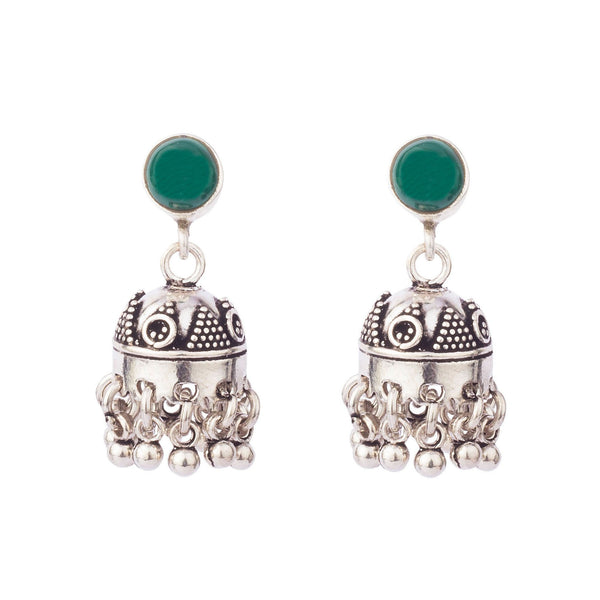 Green Stud Silver Jhumki Earrings