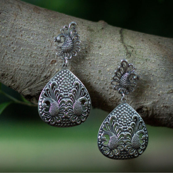 Twin Peacock Long Real Silver Earrings