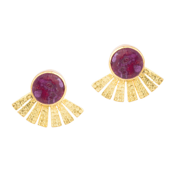 Maroon Stone Stud Earrings