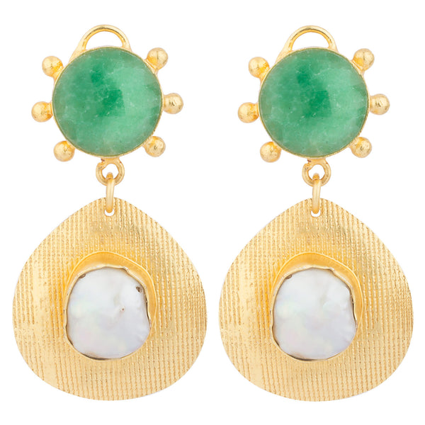 Green and MOP Gold Drops Earrings