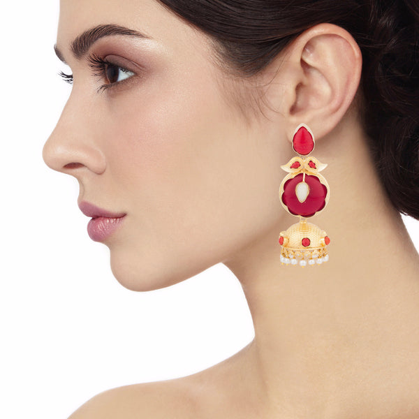 Red and gold Long Jhumka Earrings