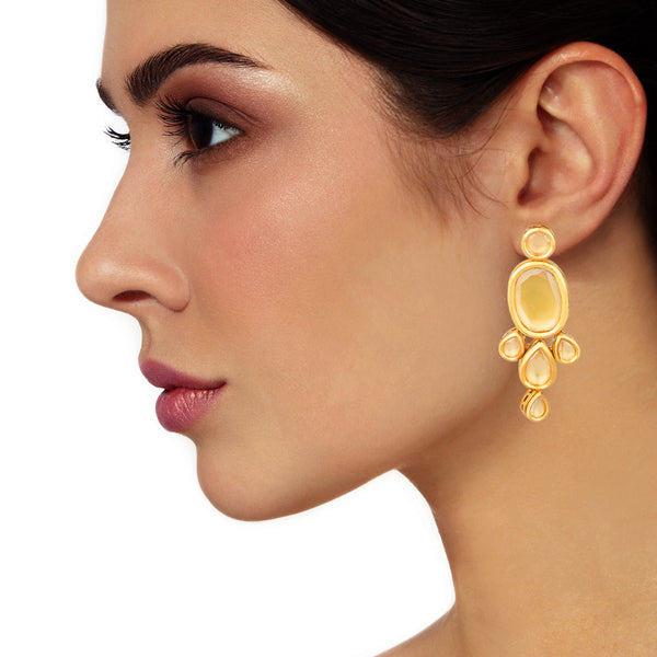 Gorgeous Gold Kundan Long Earrings