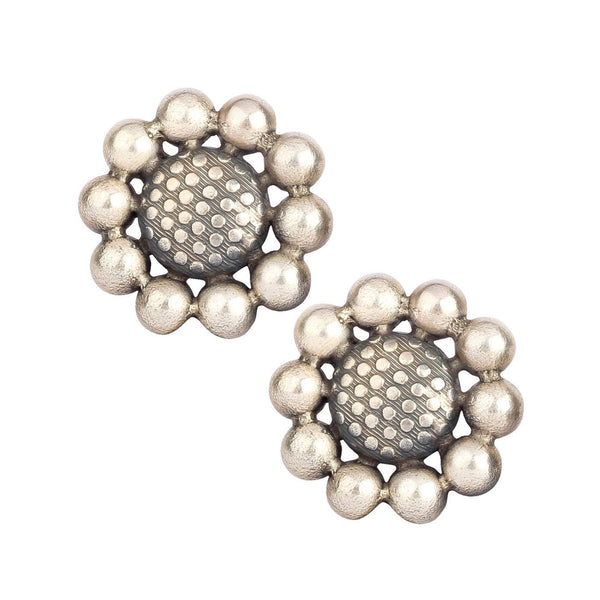 Flower Design Silver Stud Earrings