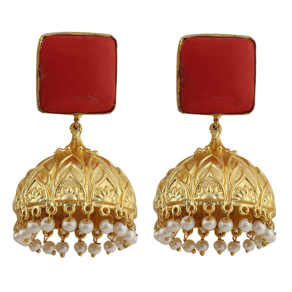 Red Gemstone Jhumka Earrings