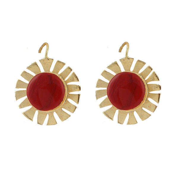 Red and Gold Life Wheal Drop Earrings