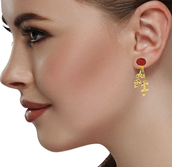 Red Stud with Golden Leaves Stud Earrings