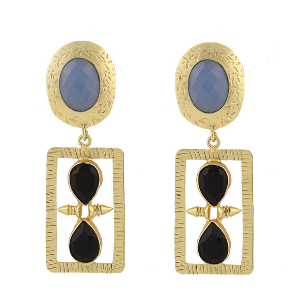 Blue Chalcedony and Black Onyx Stone Earrings