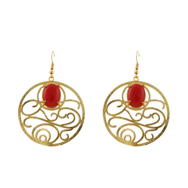 Red Gemstone Chandbali Earrings