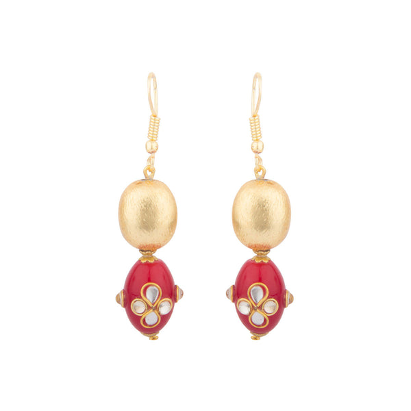 Red and Gold Kundan work Earrings
