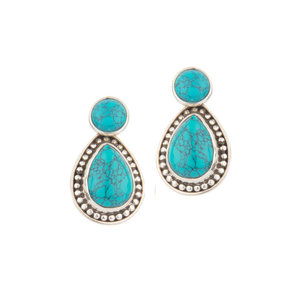 Turquoise in Silver Shells Earrings