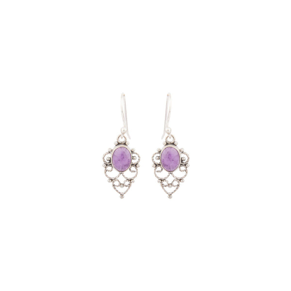 Small Purple Gemstone 925 Sterling Silver Earrings