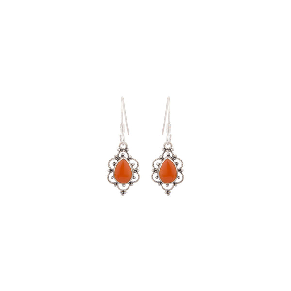 Small Orange Gemstone 925 Sterling Silver Earrings