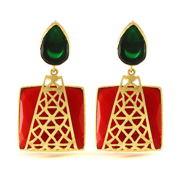 Glamorous Red and Green Gemstone Earrings