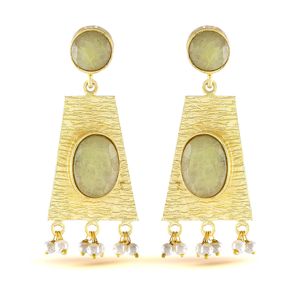 Pistachio Green Gold Earrings