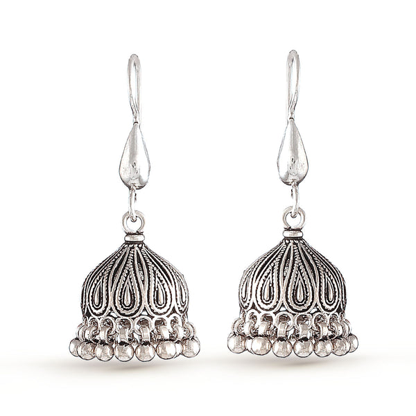 Silver Leaf Jhumka Earrings