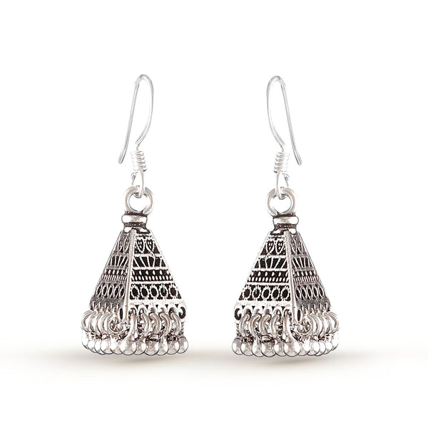 Silver Trapezoid Drop Earrings