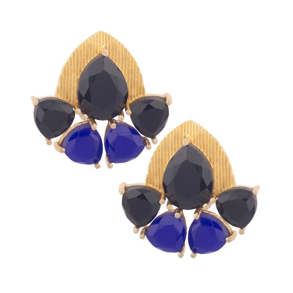 Black and Blue Stone Studded Gold Earrings