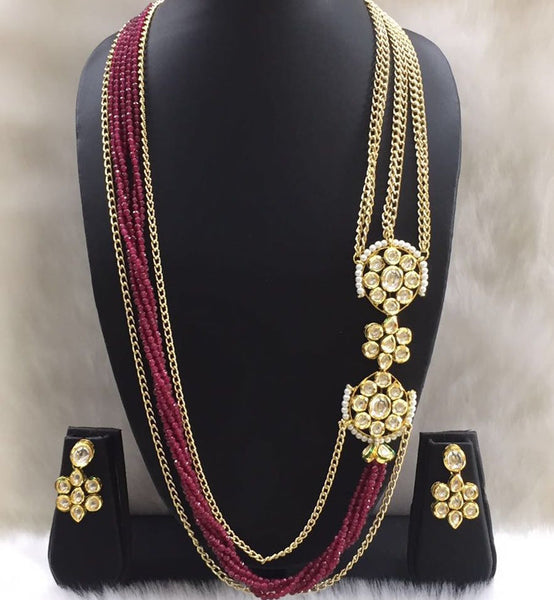 The Royal Red and Gold Long Necklace Set
