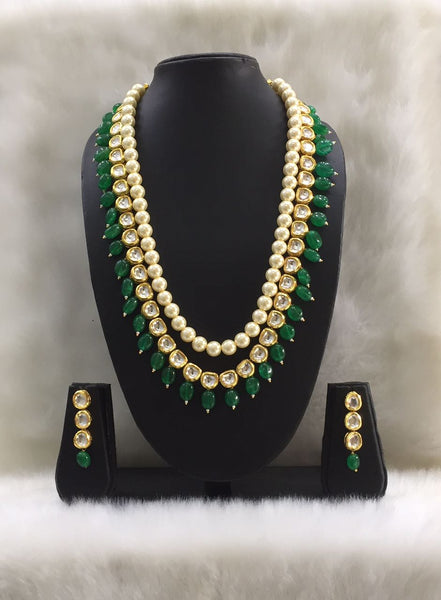 Shell Pearls along with kundan and Gesmstone Beads