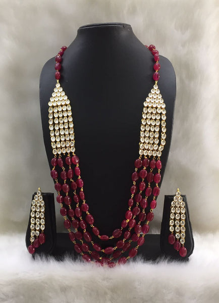 Multistrand Red Gemstone and Kundan Necklace Set