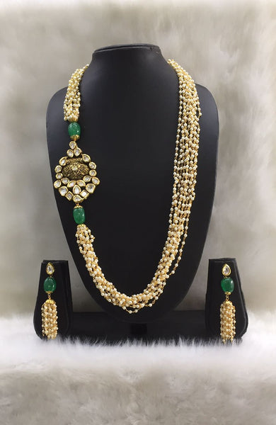 Long Multiline Pearl strands and Kundan Necklace Set