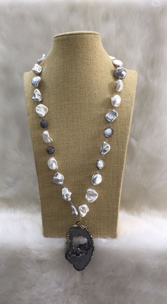 White and Grey MOP and Baroque Pearls Necklace