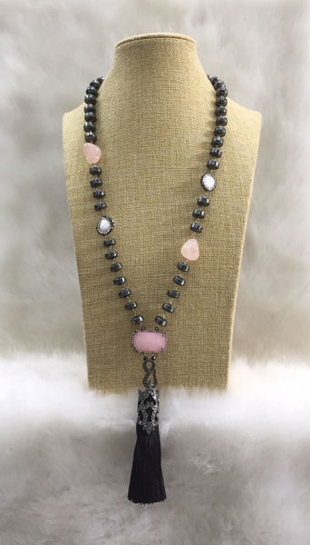 Black and Pink Gemstone Beaded Silk Tassel Necklace