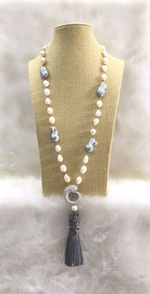 White and Grey Baroque Pearls Tassel Necklace