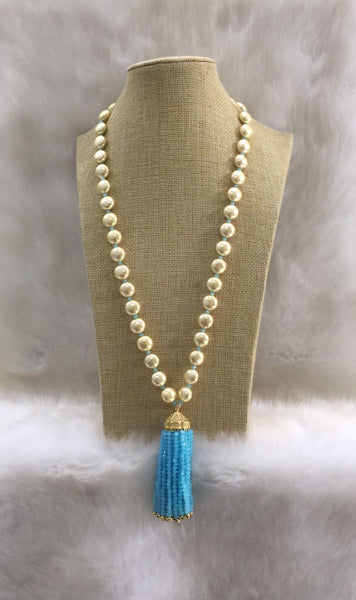 Shell Pearl and Blue Colours Jade Tassel Necklace