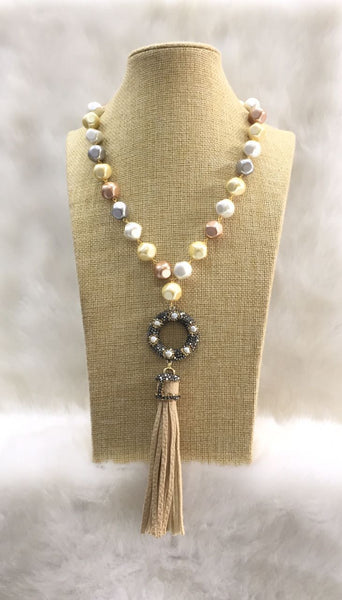 Pastel colours Shell Pearl and Leather Tassel Necklace