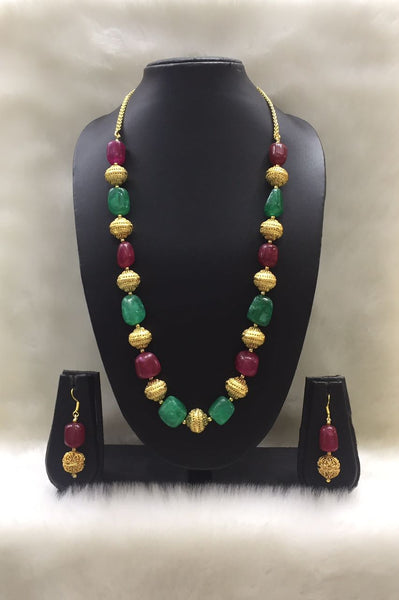 Single Stranded Red and Green Agate Tumble Gemstone Beaded Necklace Set