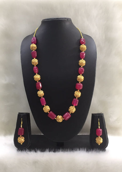 Single Strand Ruby Pink Agate Gemstone Tumbles Beaded Necklace Set