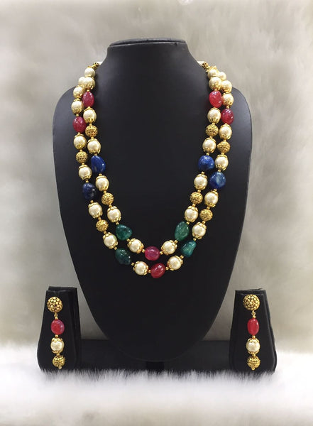 Two Stranded Multicolor Pearl and Gemstone Beaded Necklace Set