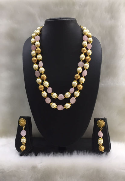 Two Stranded Pearl and Pink Gemstone Beaded Necklace Set