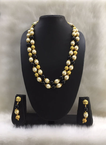 Two Stranded Pearl and Black Gemstone Beaded Necklace Set